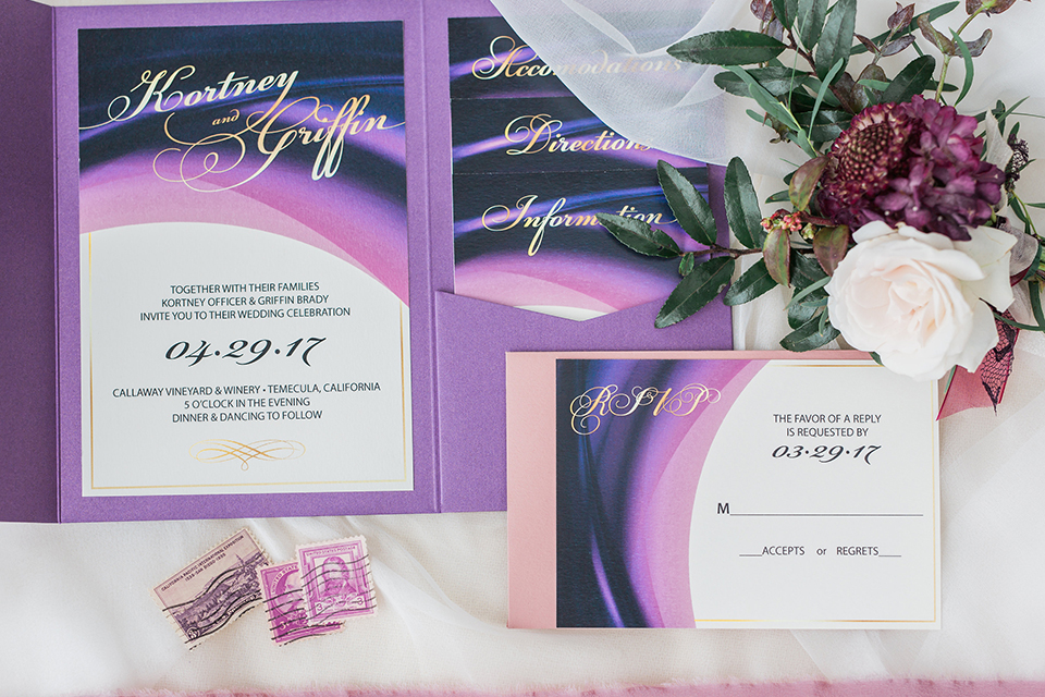 Temecula outdoor wedding at callaway winery wedding invitations white and purple with calligraphy writing and design and white linen background decor wedding photo idea for invitations