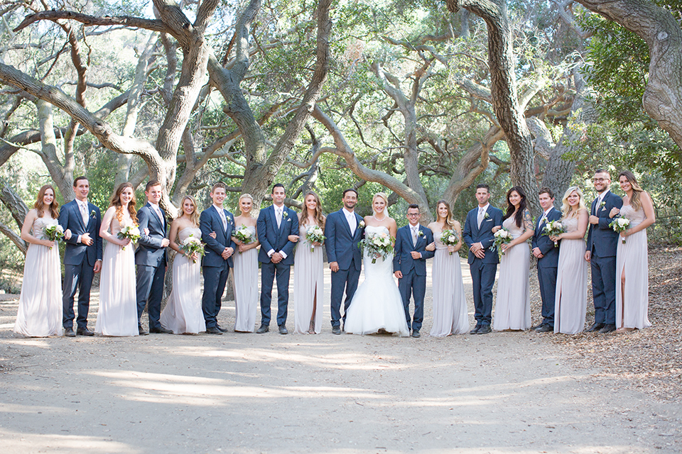 Orange county outdoor wedding at the oak canyon nature center bride form fitting mermaid style strapless gown with a crystal belt and sweetheart neckline with a long veil and groom slate blue notch lapel suit with a matching vest and white dress shirt with a long white tie and white floral boutonniere standing with wedding party bridesmaids long grey dresses and groomsmen slate blue suits with long white ties