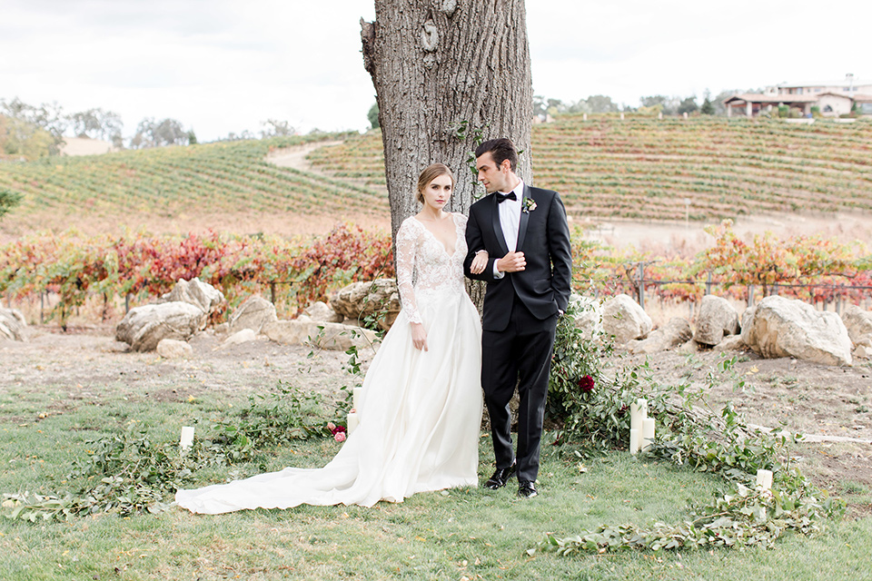 hammersky-editorial-shoot-bride-and-groom-by-vinyard-bride-in-a-tulle-ballgown-with-lace-sleeves-and-high-neckline-groom-in-a-black-shawl-lapel-tuxedo-with-black-bow