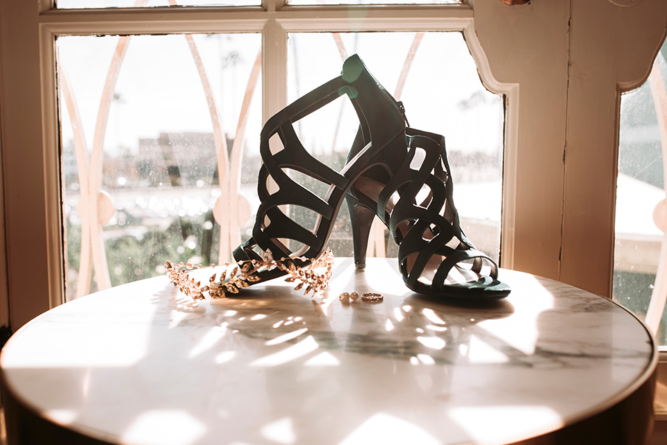 santa-anita-park-art-deco-shoot-bridal-heels-black-strappy-heels