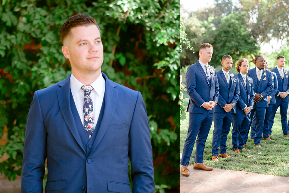 blue-suit-with-brown-shoes-and-floral-ties