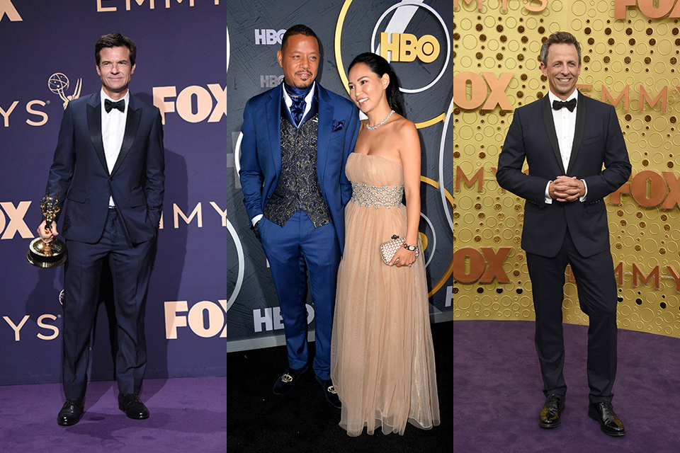 Seth Meyers, Jason Bateman, and Terrence Howard at the 2019 Emmys all wearing different versions of the classic blue tuxedo