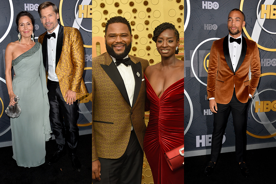 Nokolaj Coster, Anthony Anderson, and Kendrick Sampson wearing gold style tuxedos at the 2019 Emmys