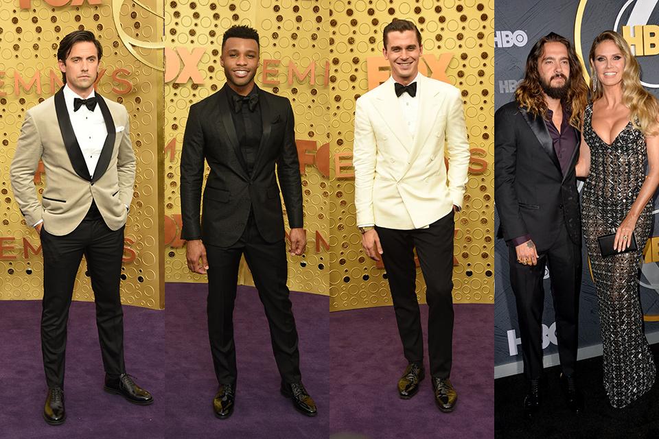milo Ventimiglia, Dyllon Burnside, Tom Kaulitz, and antoni porowski wearing black and white tuxedos at the 2019 Emmys