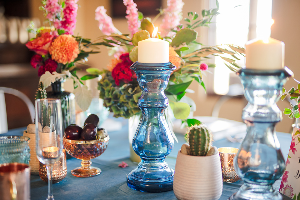 Aliso Viejo wedding design with blue crystal and colorful flowers
