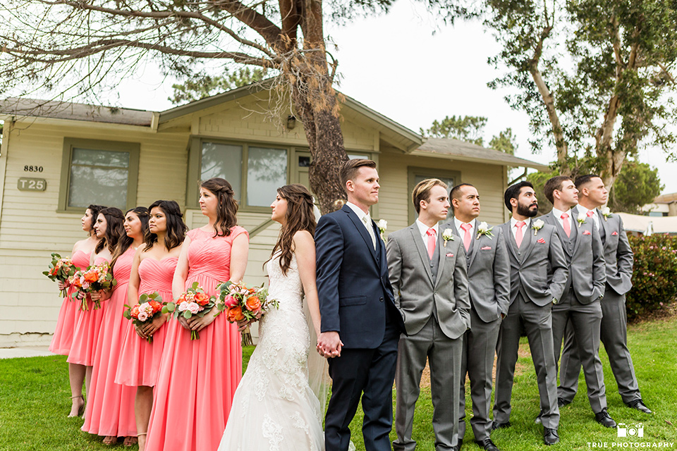 Martin Johnson House Wedding with bridal party standing in a triangle
