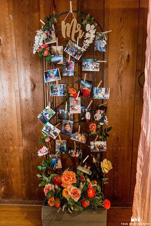 wedding photos as decor at La Jolla wedding