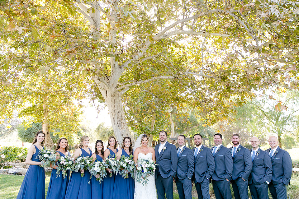 gallaway-downs-wedding-bridalparty-the-bridesmaids-in-royal-blue-gowns-groomsmen-in-navy-blue-suits-bride-in-a-lace-a-line-gown-and-groom-in-a-navy-blue-suit-with-a-white-long-tie