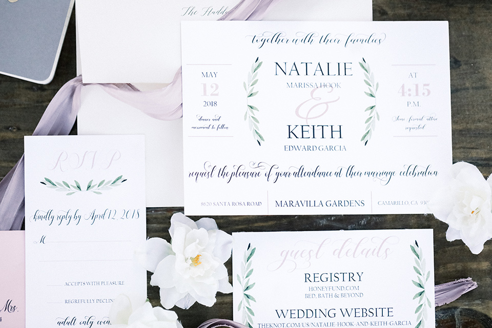 Blomgren Ranch wedding invitations with white cards