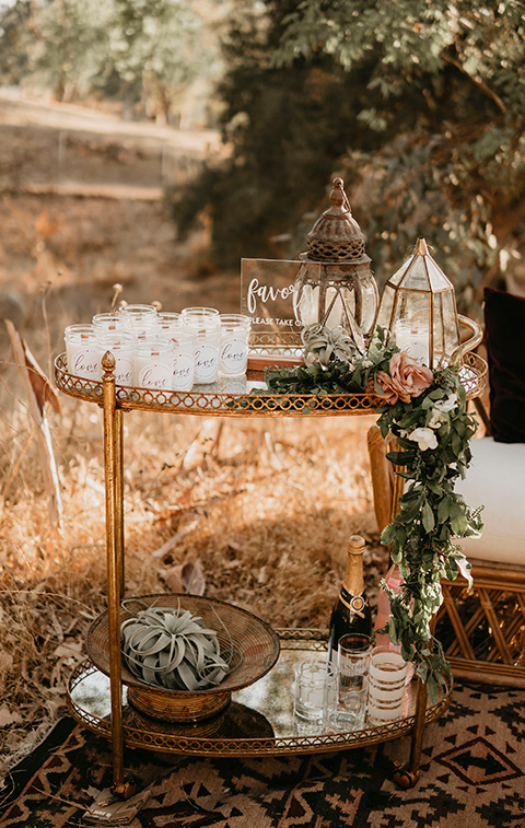 gold cocktail cart with crystal decor