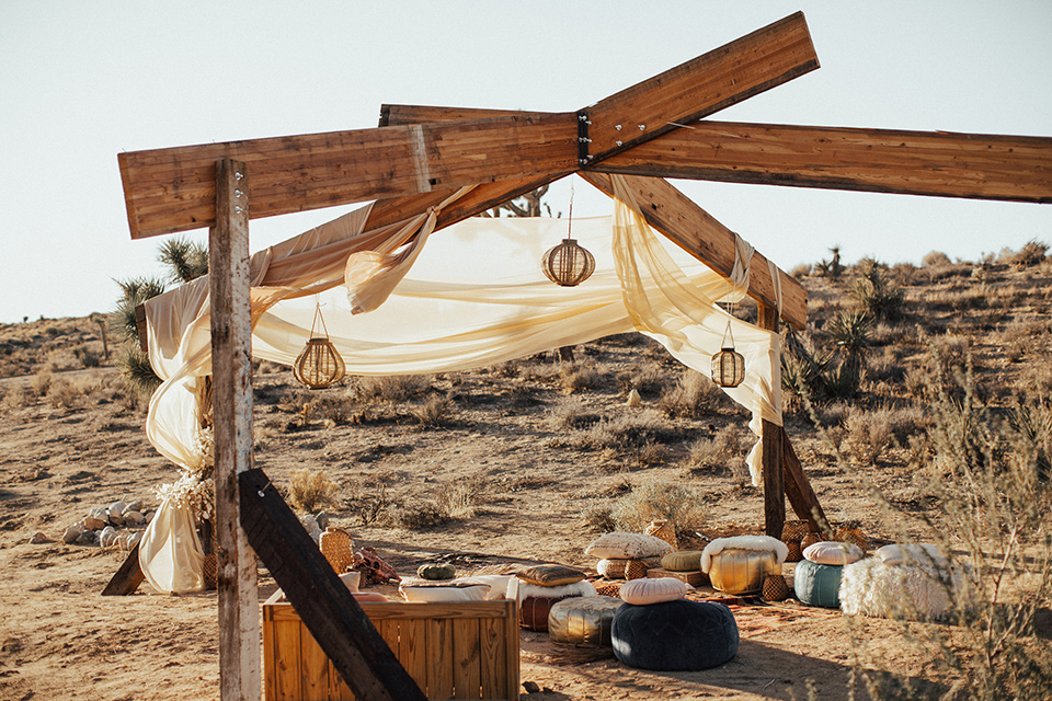 Bohemian chic wedding decorations in Joshua Tree