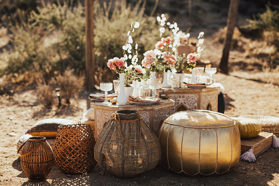 Bohemian wedding table setting in the desert gazebo