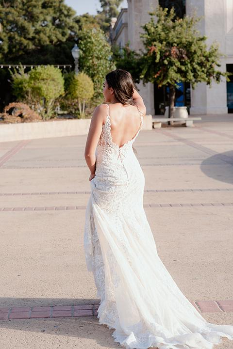 Bride walking away from camera