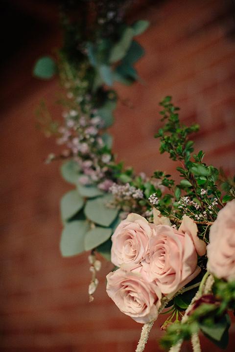 Carondelet-House-wedding-hanging-florals-close-up