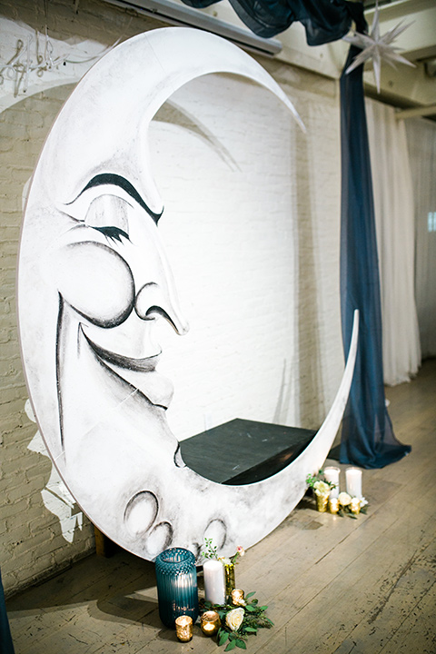 Cooks Chapel wedding painted moon ceremony arch