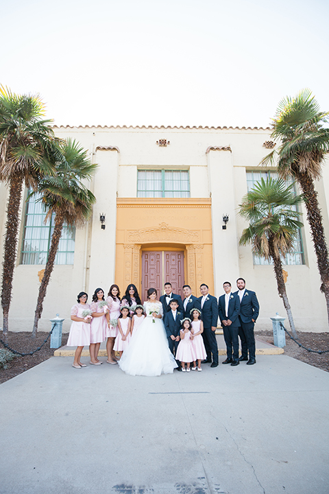 Elements-Venue-presents-wedding-bridal-party-outside-bridesmaids-in-pink-gowns-groomsmen-in-navy-suits-with-pink-long-ties-bride-is-in-a-layered-tulle-ball-gown-with-a-high-neckline-and-quarter-sleeves-groom-in-a-navy-blue-shawl-lapel-tuxedo-with-a-black-bow-tie