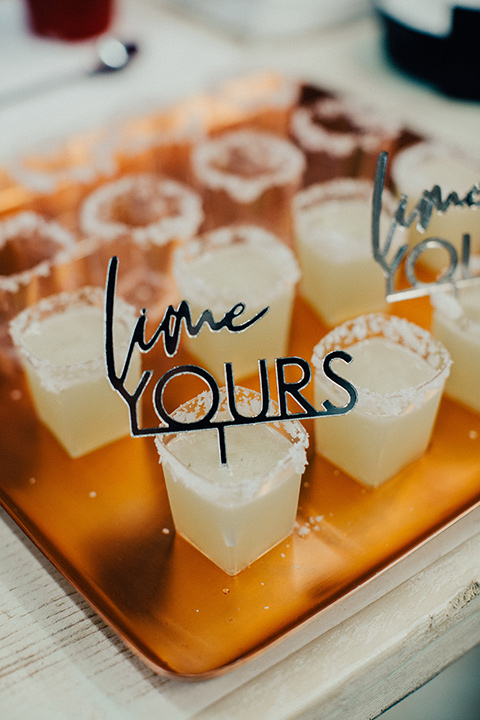 Wedding styled margaritas that say lime yours