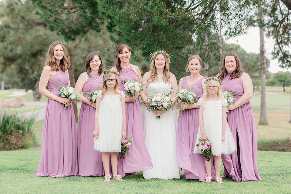 Los-Verdes-Golf-Course-Wedding-bridesmaids-bride-in-a-white-gown-with-cap-sleeves-bridesmaids-in-pink-dresses