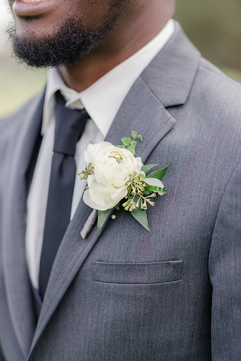 Los-Verdes-Golf-Course-Wedding-close-up-on-groom-look-in-a-charcoal-tuxedo-with-a-black-tie