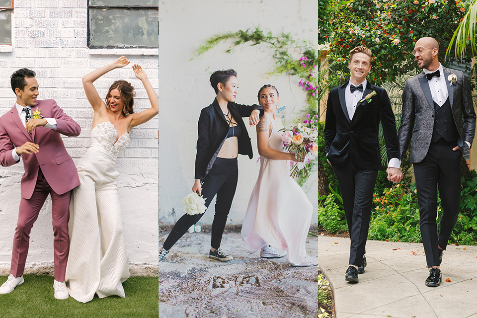 brides and grooms in various styles with same-sex marriage
