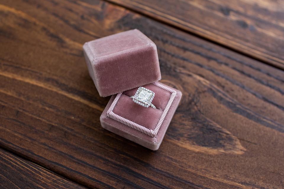 rose velvet ring box and silver diamond ring