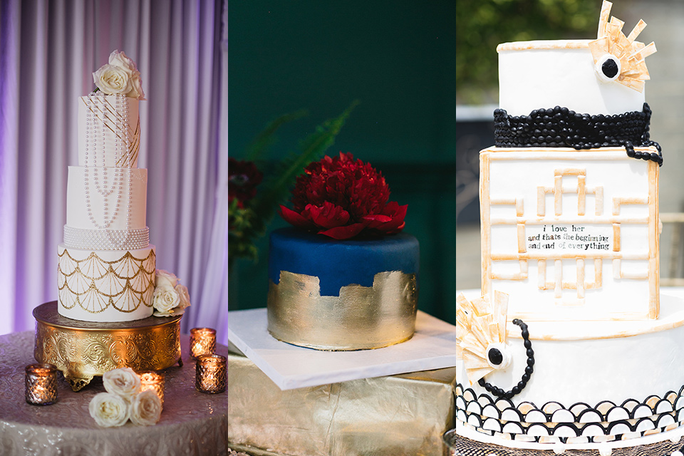 Art deco and roaring twenties inspired cakes at the reception