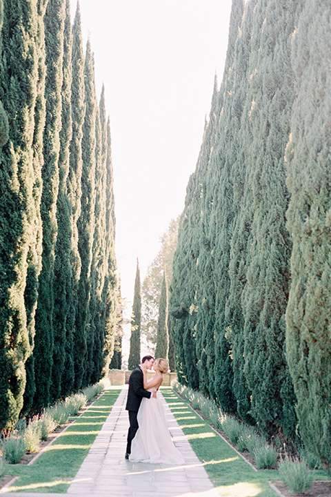 bride wearing a tulle ballgown with thin straps and her hair in a loose braided bun and the groom in a black tuxedo with a black bow tie near tall tree lined walkway