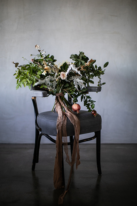 moody florals on a wooden chair
