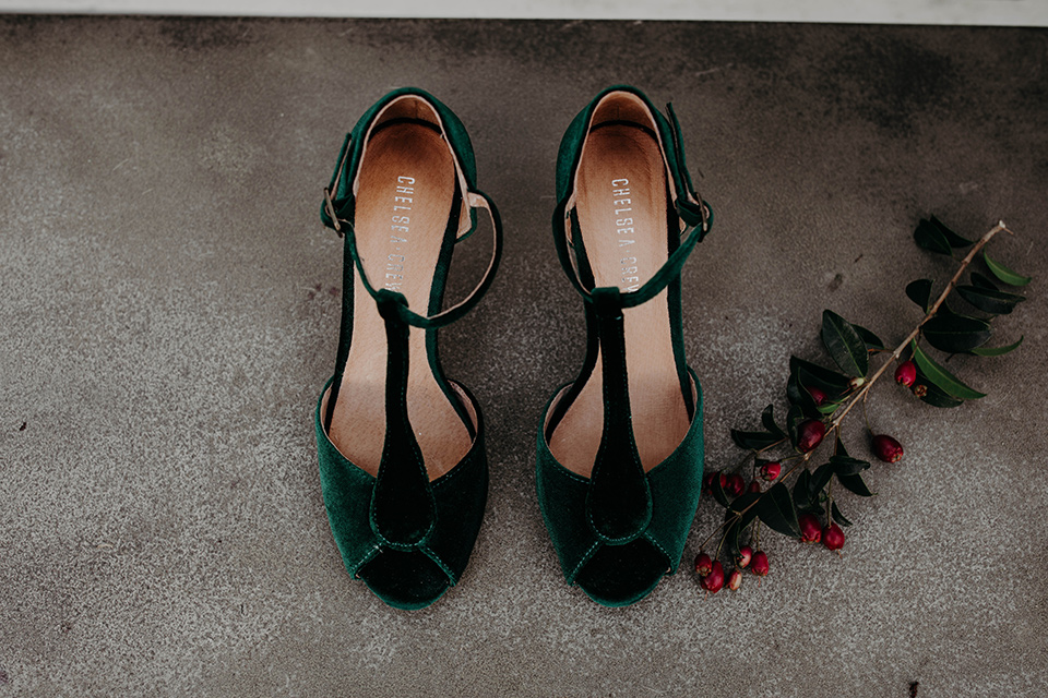 Highway-West-Vacations-bridal-heels-in-green-velvet
