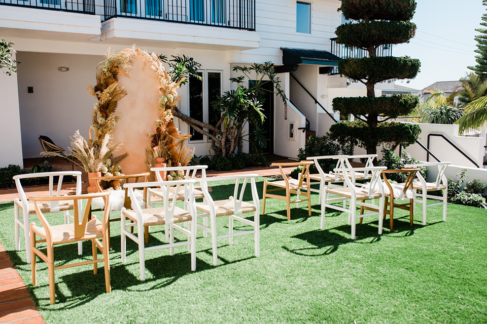 neutral colored chairs with a bohemian style feel