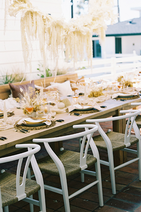 wooden table with bohemian decor