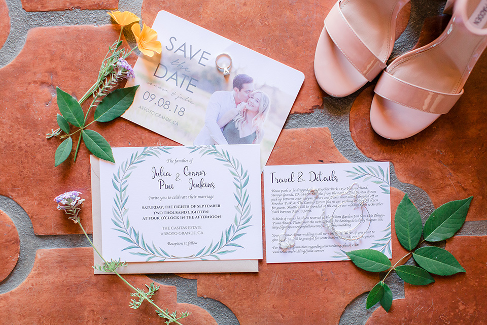 Arroyo-Grande-Wedding-invitations-wih-simple-white-paper-and-calligraphy-in-green