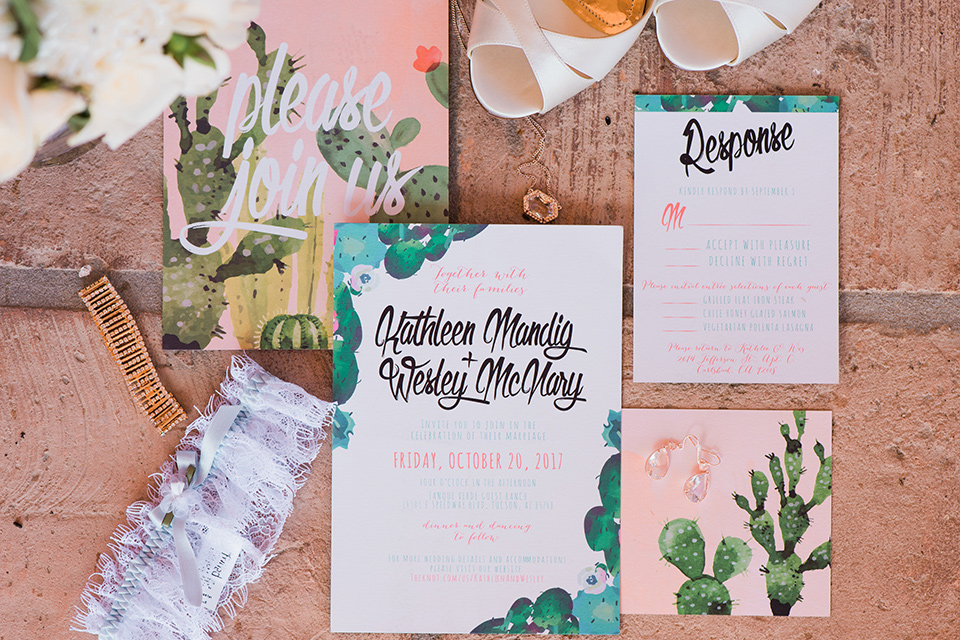 tanque-verde-ranch-arizona-wedding-invitations-in-pink-with-watercolor-cacti-on-them