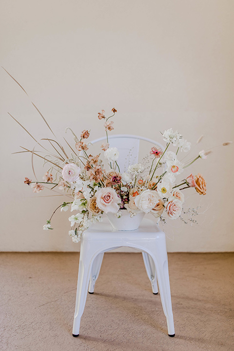 white chair with florals on them