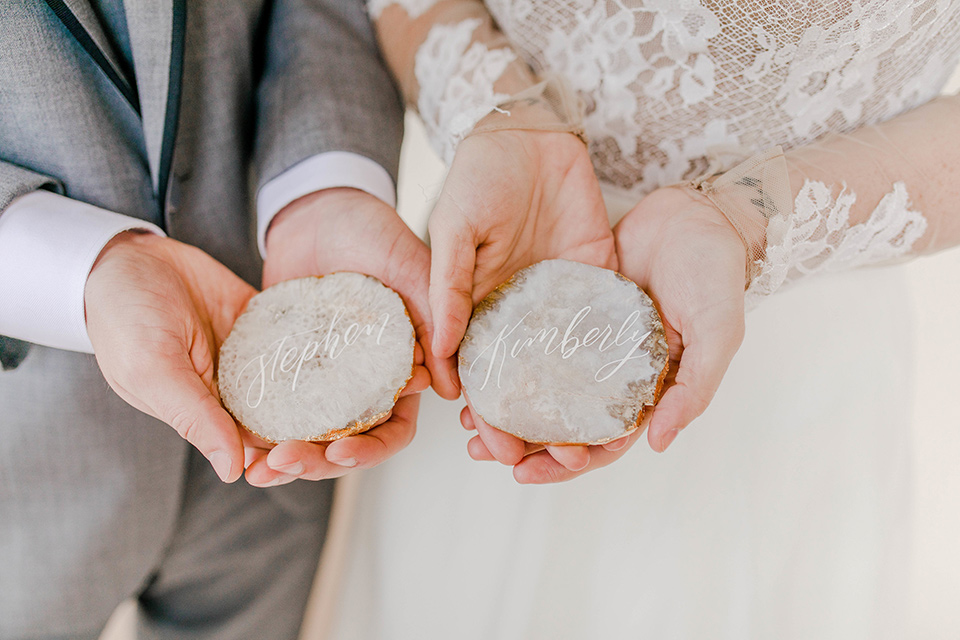 table cards made with river rocks