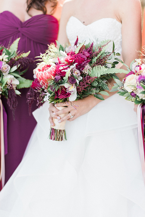 close up of the bride's bouquet of colorful flowers