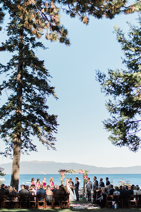 Lake Tahoe wedding ceremony with lake view