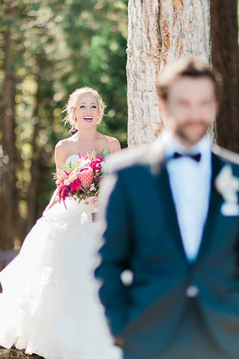 Bride laughs in a wedding photo in Lake Tahoe