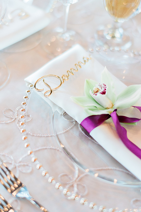 Lake Tahoe wedding flatware in white and gold décor and berry colored details