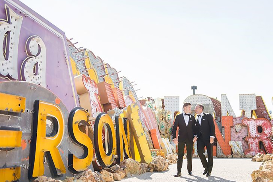 neon museum engagement shoot photos