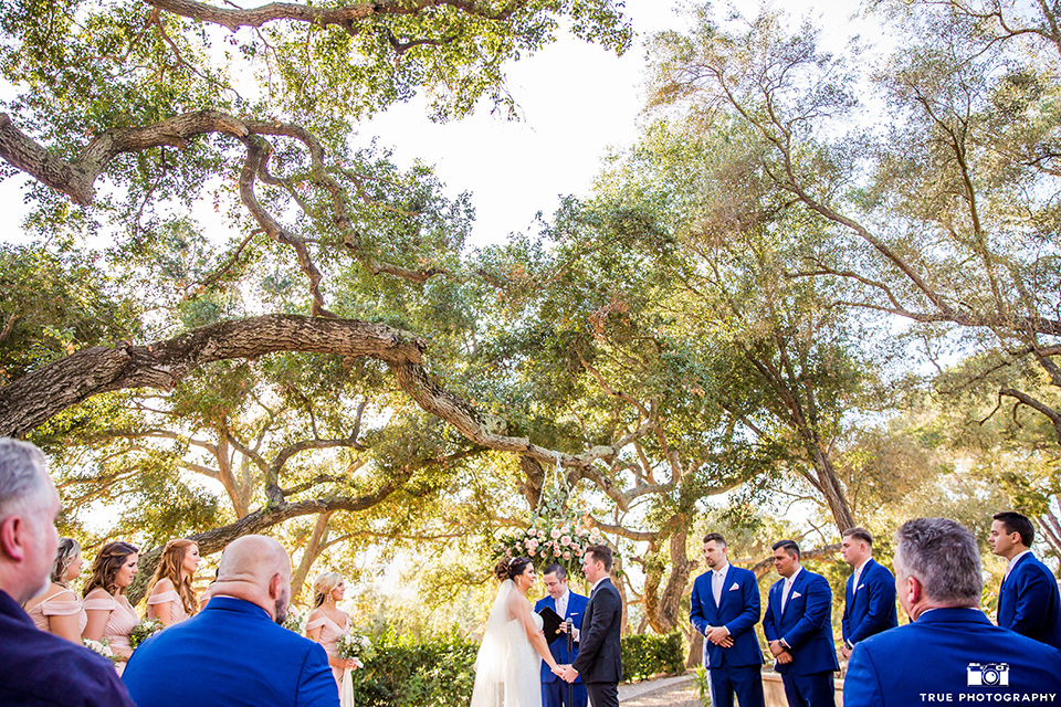mount-woodson-castle-ceremony-bridesmaids-in-light-pink-long-dresses-groomsmen-in-cobalt-blue-suits-with-pink-ties-bride-in-a-mermaid-gown-with-lace-detailing-and-a-sweetheart-neckline-groom-in-a-lack-suti-with-a-black-long-tie
