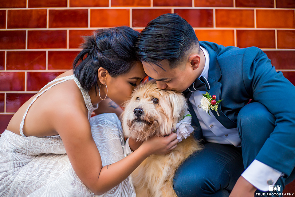 skybox-real-wedding-bride-and-groom-with-dog-bride-wearing-a-fitting-lace-dress-with=straps-groom-wearing-a-blue-suit-bridesmaids-in-burgundy-groomsmen-in-blue