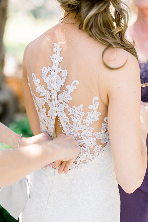 Temecula-Creek-Inn-Wedding-back-of-brides-dress-with-an-illusion-back-with-lace
