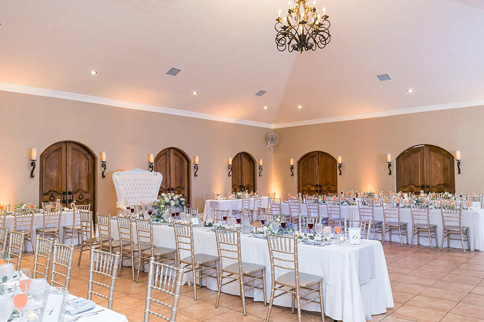 long tables in white linens