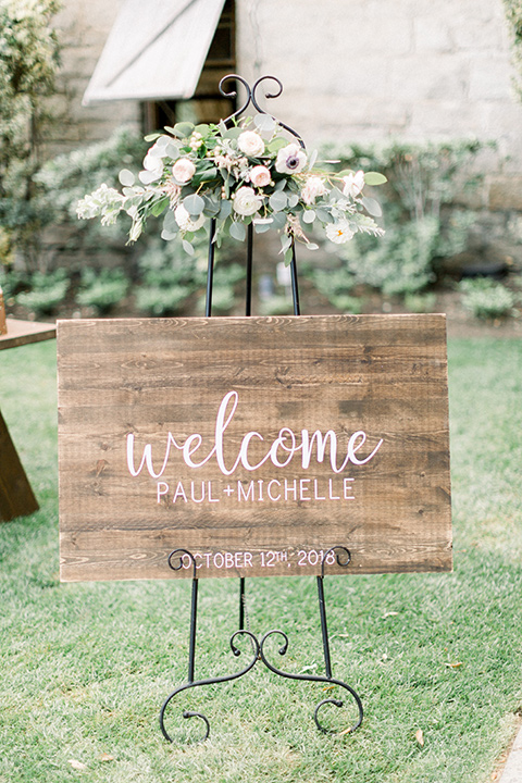 Temecula creek inn wedding welcome sign at ceremony