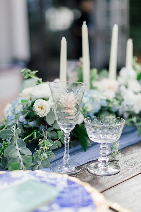 white candles and blue decor