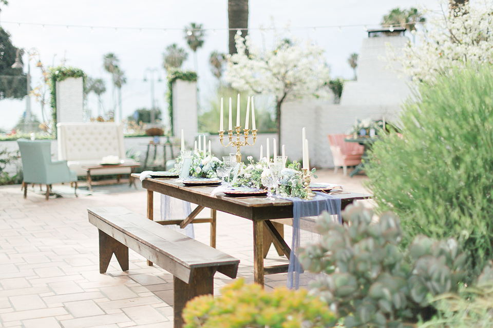 wooden picnic table and decor
