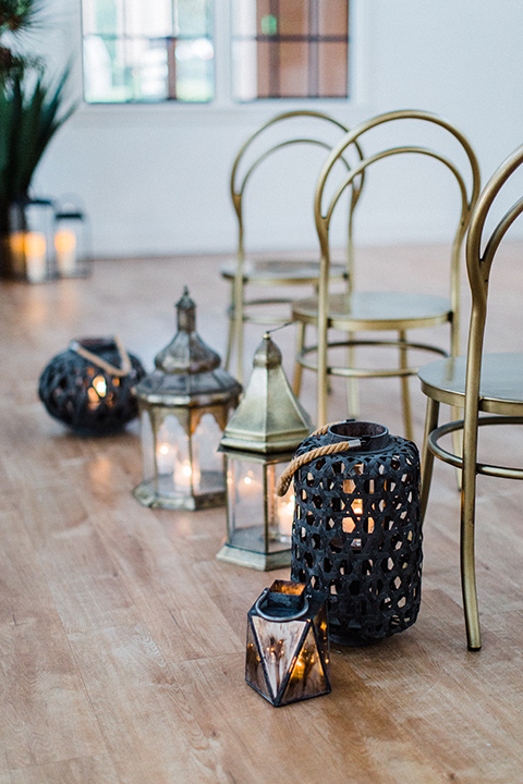 modern Moroccan shoot gold ceremony chairs