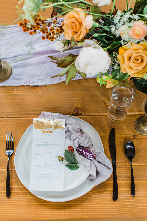 modern Moroccan shoot reception flatware décor with white places and gold accents