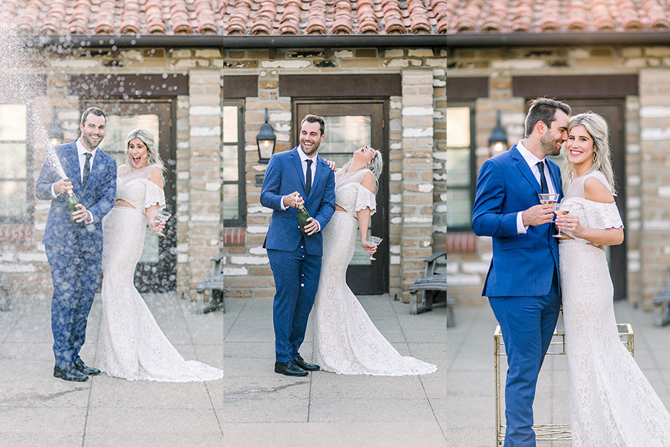 modern styled wedding with the bride in a white dress with an off the shoulder design and the groom in a bold blue suit with a black long tie